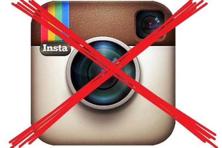Logo instagram tachado