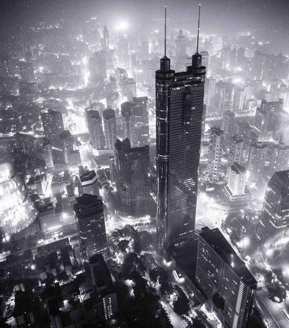 Ilustracion cenital de edificios futuristas.
