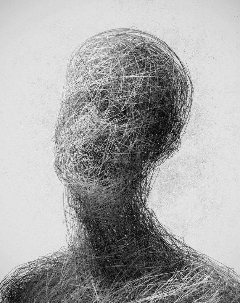 Follografos. ¿Estamos haciendo lo correcto? Busto humano, aparentemente masculino, formado por una maraña de cables. No se aprecia rostro.